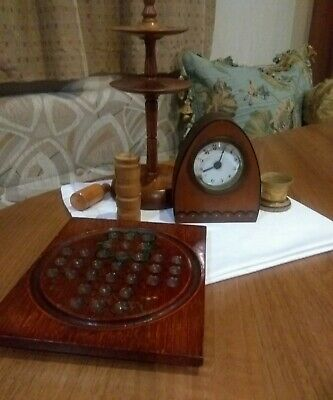 A Selection Of Vintage/ Antique Treen Items* Clock*