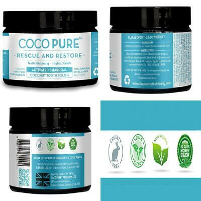 Coco Pure XL 80g Activated Coconut Charcoal Whitening Tooth Powder Natural...