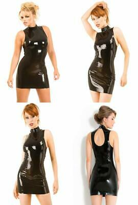 Honour Women's Sexy Polo Dress Black Rubber Latex Outfit with Press Studs
