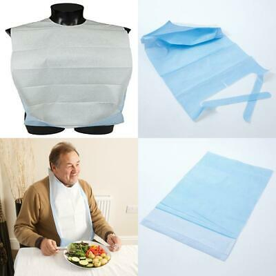Abena Disposable Adult Clothing Protector Bibs with Pocket and Neck Ties -...