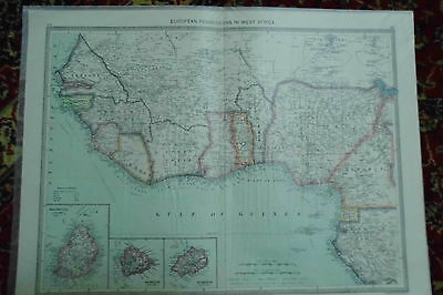 Antique MAP West Africa European Possessions London Geographic Institute c1910