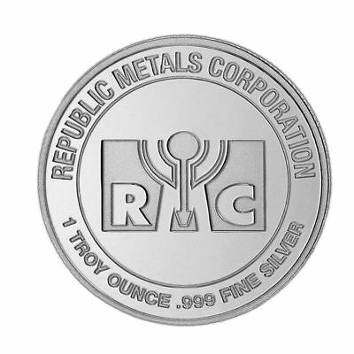 5 x 1 Troy Ounce .999 Fine Silver Round RMC Republic Metals Corporation [New]