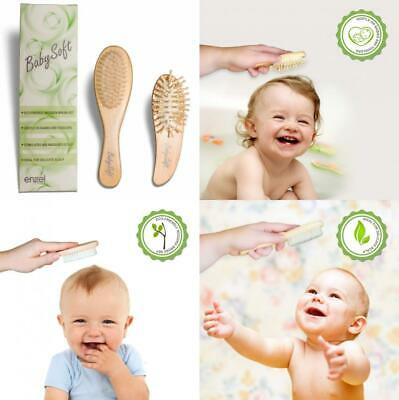 Baby Hair Brushes, Set of 2   100% Natural Wood Handles with Super Soft...