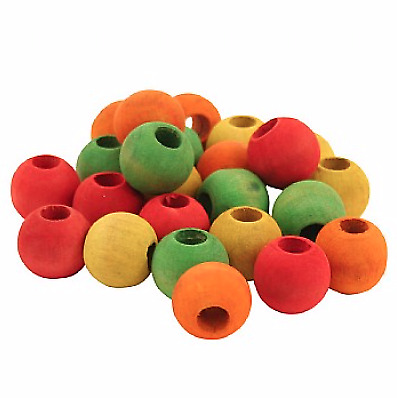 """Colourful Wood Beads 3/4"""" - Pack of 24 - Parrot Toy Making - Safe And Durable"""