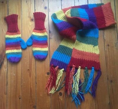 long scarf,with tassels,and glove set ladies knitted multi color NEW
