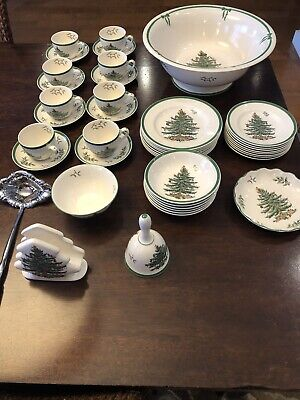 Spode Christmas Tree Lot Of 44 Pieces Including Punch Bowl