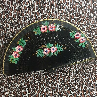 Black Mexican Wooden Fabric Hand Painted Floral Hand Fan