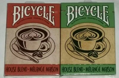 2x Bicycle House Blend Playing Cards Limited Edition Coffee Love 52 Card Deck.