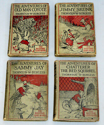 4 Bedtime Story Books by THORNTON W. BURGESS (1919-20) ADVENTURES OF JIMMY SKUNK