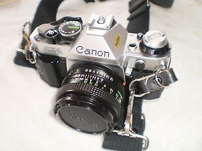 Canon AE-1 Program 35mm Film Manual Camera with Canon FD 50mm f1.8 Lens