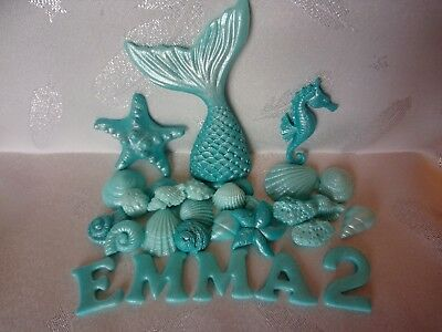 5pcs//set cute mermaid tail starfish coral seahorse cake toppers party suppliesIJ