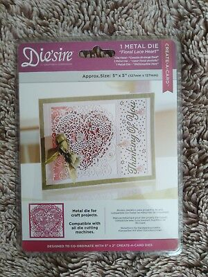 Crafters Companion Diesire Create A Card Die - Floral Lace Heart