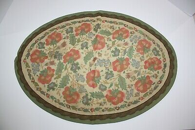 Vintage Antique 1940s Au Petit Point Place Mat Tapestry Hand Made Needle Point