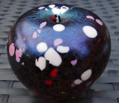 Mottled Artisan Iridescent Sheen Solid Glass Apple Paperweight Sculpture