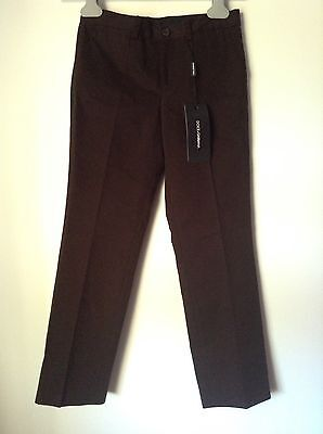 BNWT 100% Auth Dolce And Gabbana Girls Brown Chinos Trousers. 7- 8 Yrs RRP £260