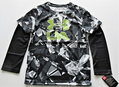 Under Armour Boys' Black Long Sleeve Shirt with Hi Vis Yellow Logo Y6 - NWT