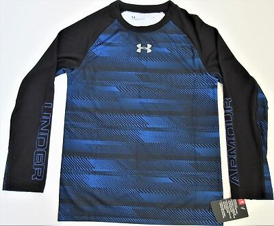 Under Armour Boys' Heat Gear Long Sleeve Shirt Youth 7 Ultra Blue & Black - NWT