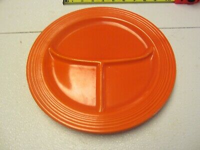 vintage red orange fiesta ware divided grill plate