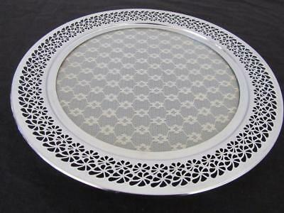Vintage SERVING TRAY Ornate Chrome/Stainless Lace Cake Stand