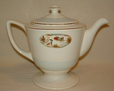 Vintage Homer Laughlin Teapot Currier & Ives Winter Scene Large 6 Cup Capacity