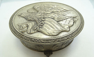 Vintage Colonial Sterling Silver American Eagle Box A4359