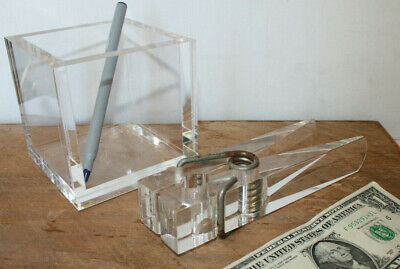 Vintage Thick Clear Acrylic Lucite Desk CUBE GIANT Paper Clip Mid Century Modern