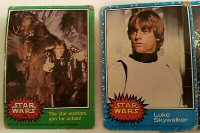 Lot of Vintage Star Wars Trading Cards, blue, red, green, yellow, orange