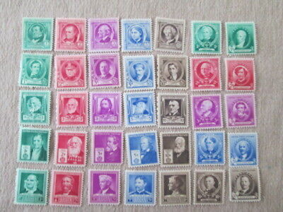 Us Stamps 1940 Year Famous Americans Issue Complete Set, Scott # 859-893 Og, Mnh
