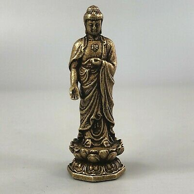Exquisite Chinese Collectible Old Brass Handwork Buddha Exorcism Statue