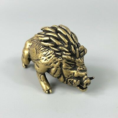 Chinese Old Brass Handwork Wild Boar Collectible Antique Figurines Statue YR