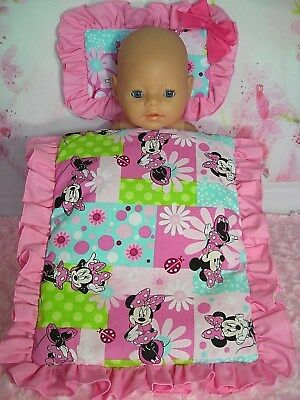 Dolls~Pink Minnie Mouse~ Pillow & Quilt Cover Set For~ Bed, Cot, Pram, Cradle ~