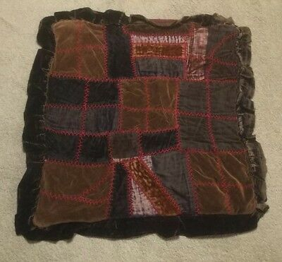 Vintage Crazy Quilt Pillow Cover