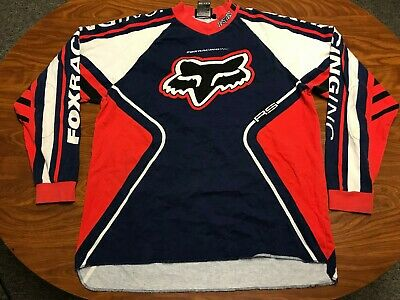 Mens Vtg Fox Racing Long Sleeve Red & Black Motocross Racing Jersey Shirt Large