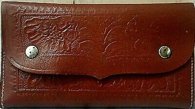 """Vintage Fly Wallet Oregon Saddlemakers Tooled Leather circa 1960s USA made 7x4"""""""