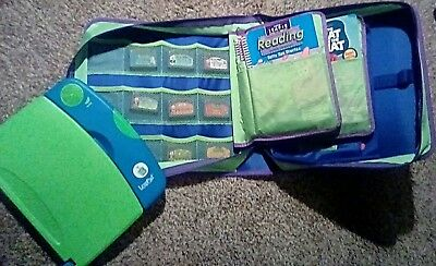 Leap Frog Lot Blue Pad Learning System 14 Books 10 Cartridges + Case *Working*