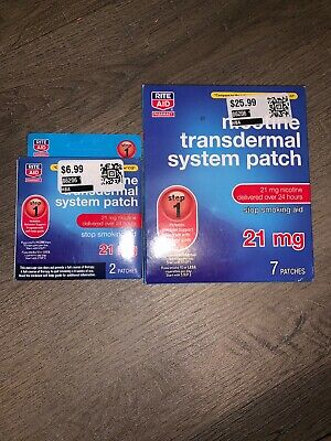 Nicotine Step 1 Transdermal Smoking Patches 21 mg 9 Patches RITE AID EXP 03/18