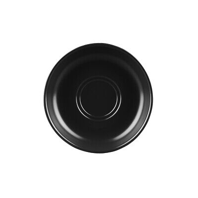 72x Black Coffee Saucer 150mm Longfine Vitrified Stackable Cup Plate Cafe Event