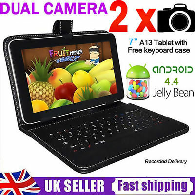 """7"""" Android 4.4 8GB Dual Cameras Quad Core WiFi Kids Tablet PC WITH FREE GIFT uk"""
