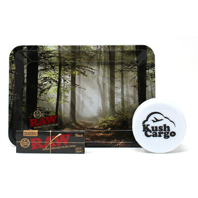 RAW Smokey Forest Trees Rolling Tray Mini with RAW Black Papers