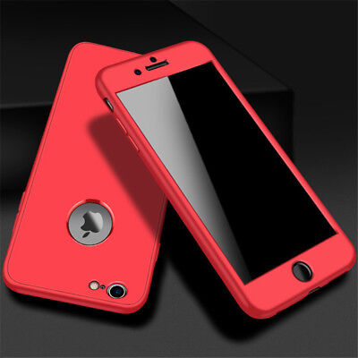 For iPhone 6 Plus SHOCKPROOF 360° Front Frame+Back Case Ultra Slim Red Cover