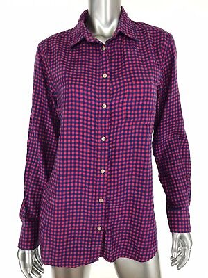 10b497f7 Uniqlo Womens Button Down Flannel Shirt Sz Large Red Blue Plaid Checkered