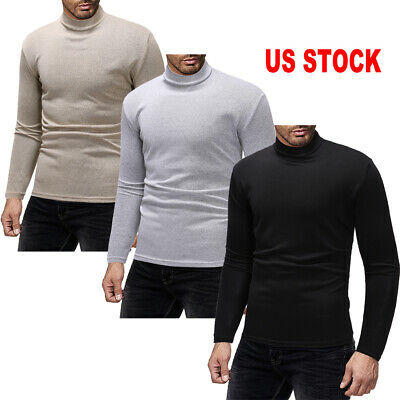 US Mens High Collar Sweater Tops Jumper Pullover Sweatshirt T-Shirts Long Sleeve