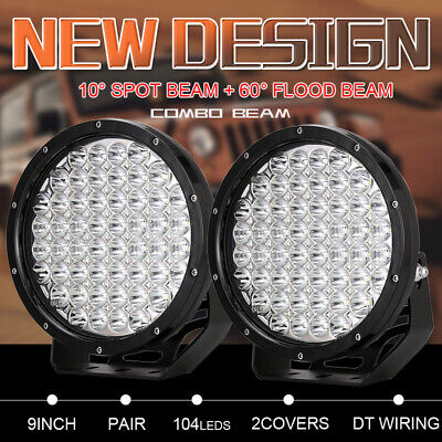 9inch New Pair LED Round Driving Lights Spot&Flood Work Lights Black Offroad SUV