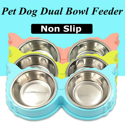 Pet Dog Cat Non-Slip Double Bowls Multi Type Feeder Food Dish Water Splash Proof