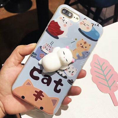 SHOCKPROOF 3D Lazy Cat Ultra Thin Slim Soft Case Cover For iPhone 7 Plus/8 Plus