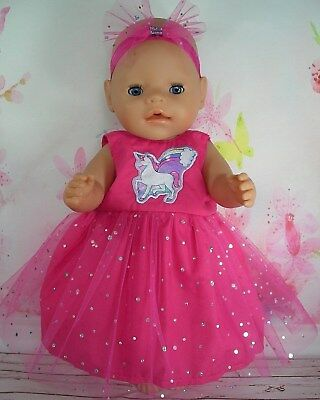 "Dolls clothes for 17"" Baby Born doll~HOT PINK UNICORN/RAINBOW SPARKLY DRESS~BOW"
