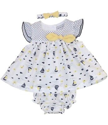 BabyPrem Baby Girls Sailor Dress Set 3 Piece Navy Sailing Boat Outfit - NB - 6m