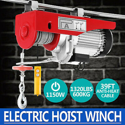 1320Lbs Electric Hoist Winch Lifting Engine Crane Double Line Hanging Pulley