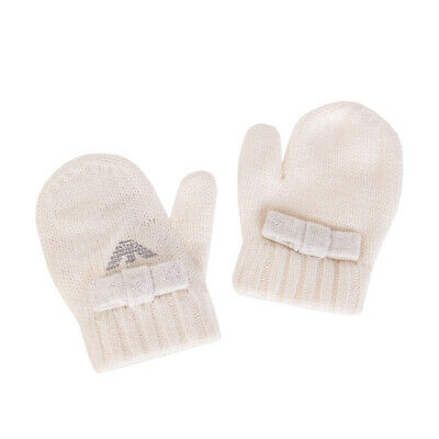 ARMANI BABY Mittens Size 1 / 6-9M Cashmere Blend Bow & Logo Detailings Knitted