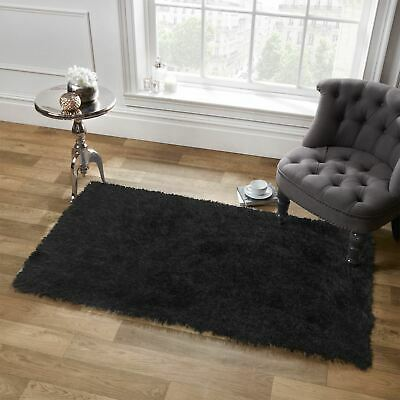 Sienna Shaggy Large Floor Area Rug Plain Soft Sparkle Mat Thick 5cm Pile Black